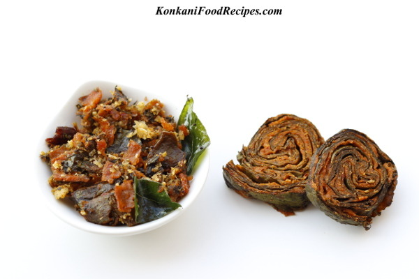 Colocasia Leaves Pinwheels Stir Fry (Pathrode Upakari, Pathrade Usli)